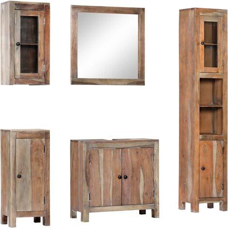 Conjunto de muebles de baño 5 piezas madera maciza de acacia