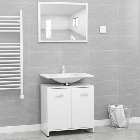 Conjunto de muebles de bano aglomerado blanco brillante