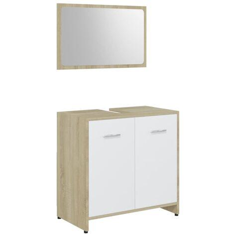 Conjunto de muebles de baño aglomerado blanco y roble Sonoma