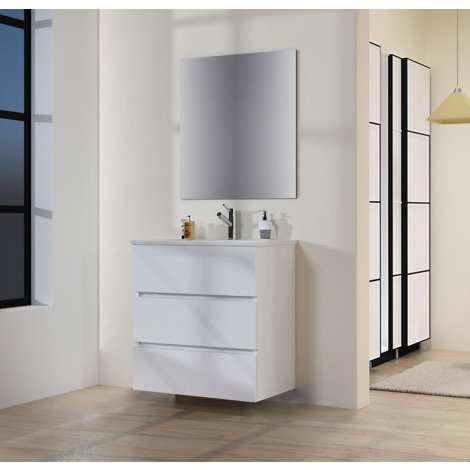 Conjunto de Muebles de Baño con Lavabo y Espejo Luna Lisa, Suspendido a la Pared, Tres Cajones, Blanco Mate, 70 x 76 x 46 cm.