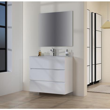 Conjunto de Muebles de Baño con Lavabo y Espejo Luna Lisa, Suspendido a la Pared, Tres Cajones, Blanco Mate, 90 x 76 x 46 cm.