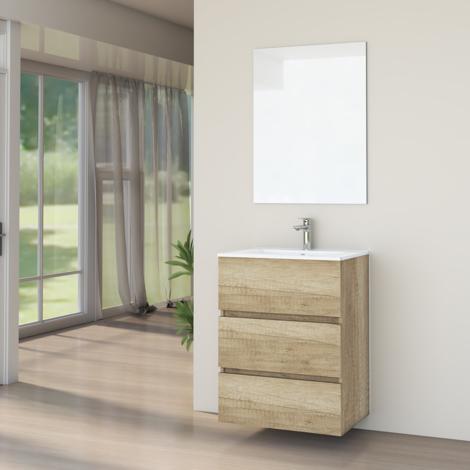 Conjunto de Muebles de Baño con Lavabo y Espejo Luna Lisa, Suspendido a la Pared, Tres Cajones, Nature, 60 x 76 x 46 cm.