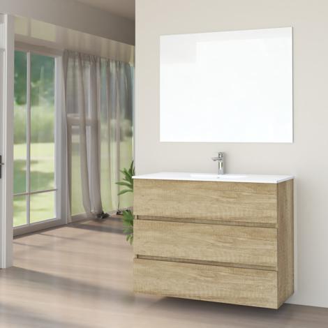 Conjunto de Muebles de Baño con Lavabo y Espejo Luna Lisa, Suspendido a la Pared, Tres Cajones, Nature, 90 x 76 x 46 cm.