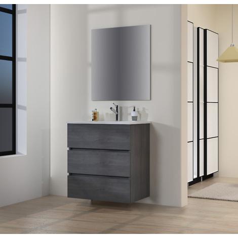 Conjunto de Muebles de Baño con Lavabo y Espejo Luna Lisa, Suspendido a la Pared, Tres Cajones, Roble Gris Ceniza, 70 x 76 x 46 cm.