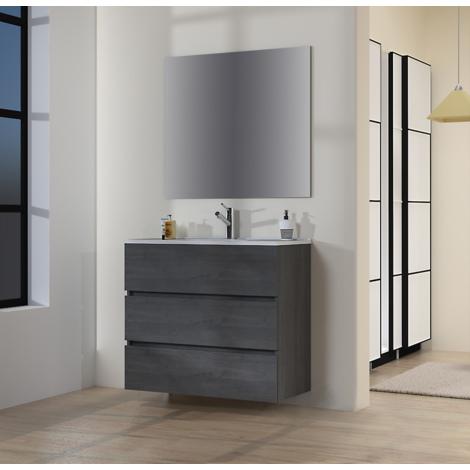 Conjunto de Muebles de Baño con Lavabo y Espejo Luna Lisa, Suspendido a la Pared, Tres Cajones, Roble Gris Ceniza, 90 x 76 x 46 cm.
