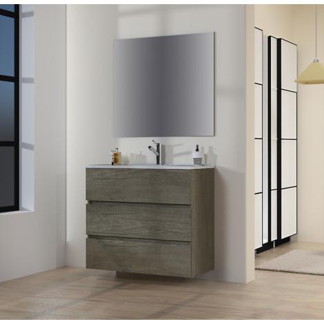 Conjunto de Muebles de Baño con Lavabo y Espejo Luna Lisa, Suspendido a la Pared, Tres Cajones, Roble Gris Nebraska, 90 x 76 x 46 cm.