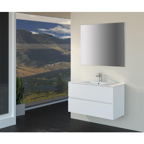 Conjunto de Muebles de Baño con Lavabo y Espejo, Suspendido a la Pared, Dos Cajones, Acabado en Blanco Mate, 90 x 55 x 46 cm