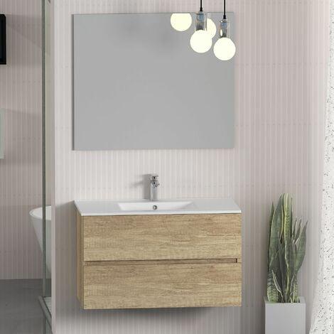 Conjunto de Muebles de Baño con Lavabo y Espejo, Suspendido a la Pared, Dos Cajones, Acabado en Nature, 80 x 55 x 46 cm