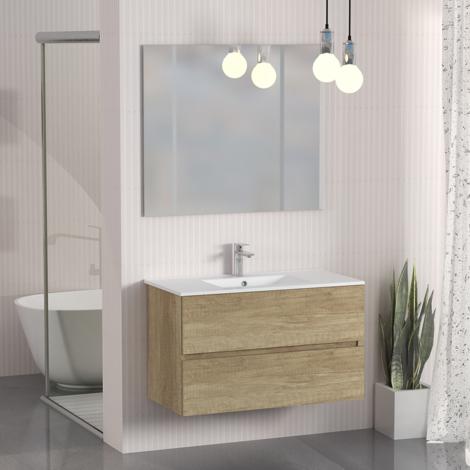 Conjunto de Muebles de Baño con Lavabo y Espejo, Suspendido a la Pared, Dos Cajones, Acabado en Nature, 90 x 55 x 46 cm