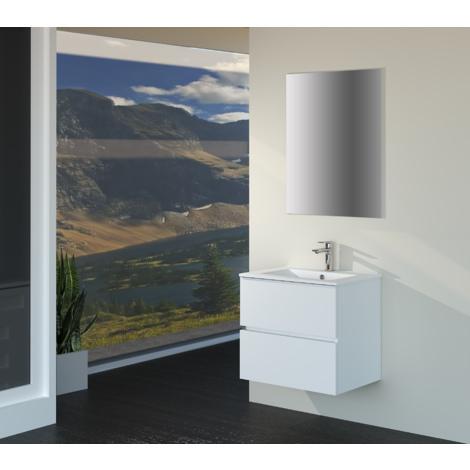 Conjunto de Muebles de Baño con Lavabo y Espejo, Suspendido a la Pared, Dos Cajones, Acabado en Roble blanco mate, 60 x 55 x 46 cm