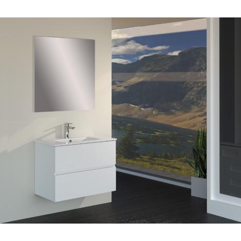 Conjunto de Muebles de Baño con Lavabo y Espejo, Suspendido a la Pared, Dos Cajones, Acabado en Roble Blanco Mate, 70 x 55 x 46 cm