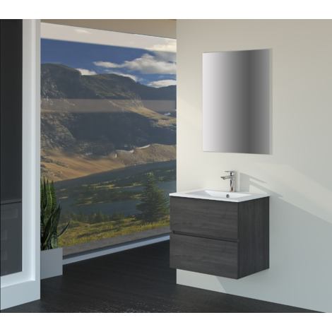 Conjunto de Muebles de Baño con Lavabo y Espejo, Suspendido a la Pared, Dos Cajones, Acabado en Roble Gris Ceniza, 60 x 55 x 46 cm