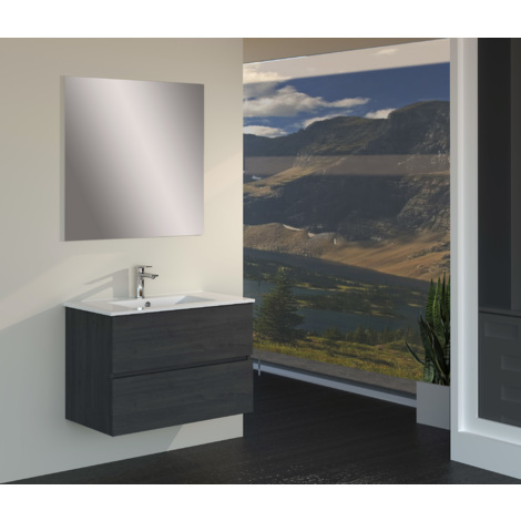 Conjunto de Muebles de Baño con Lavabo y Espejo, Suspendido a la Pared, Dos Cajones, Acabado en Roble Gris Ceniza, 70 x 55 x 46 cm