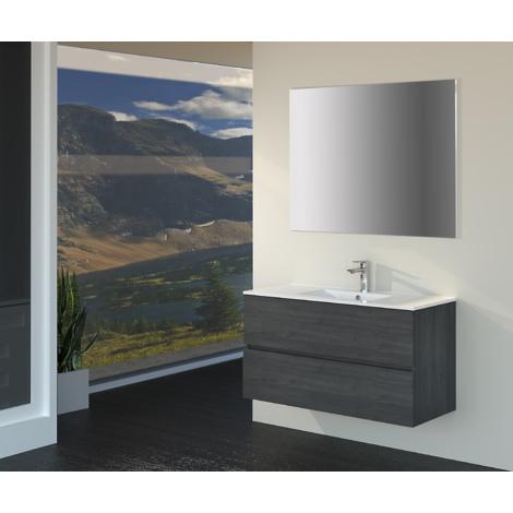 Conjunto de Muebles de Baño con Lavabo y Espejo, Suspendido a la Pared, Dos Cajones, Acabado en Roble Gris Ceniza, 90 x 55 x 46 cm