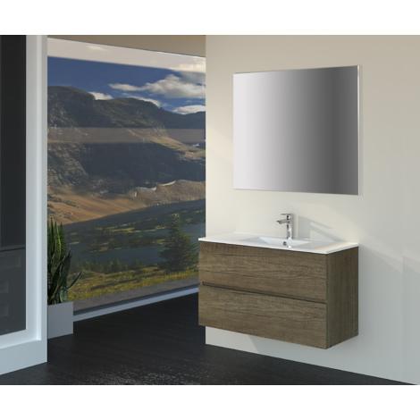 Conjunto de Muebles de Baño con Lavabo y Espejo, Suspendido a la Pared, Dos Cajones, Acabado en Roble Gris Nebraska, 90 x 55 x 46 cm