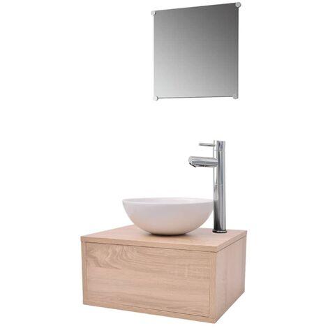 Conjunto de muebles de baño con lavabo y grifo beige 4 piezas