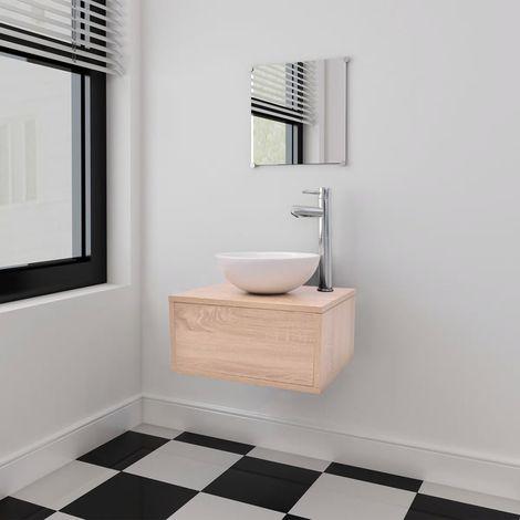 Conjunto de muebles de bano con lavabo y grifo beige 4 piezas