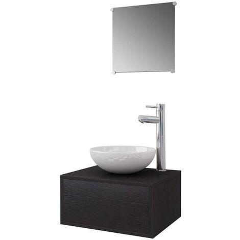 Conjunto de muebles de baño con lavabo y grifo negro 4 piezas