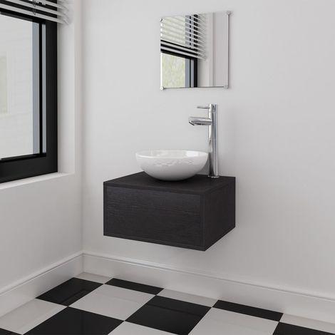 Conjunto de muebles de bano con lavabo y grifo negro 4 piezas