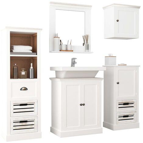 Conjunto de muebles de baño de 5 piezas madera maciza blanco