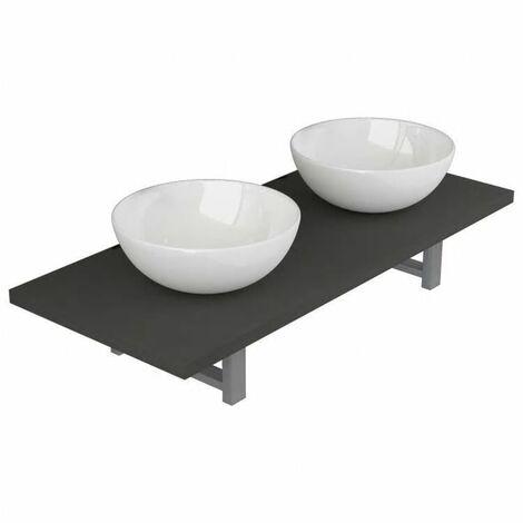Conjunto de muebles de baño de tres piezas cerámica gris