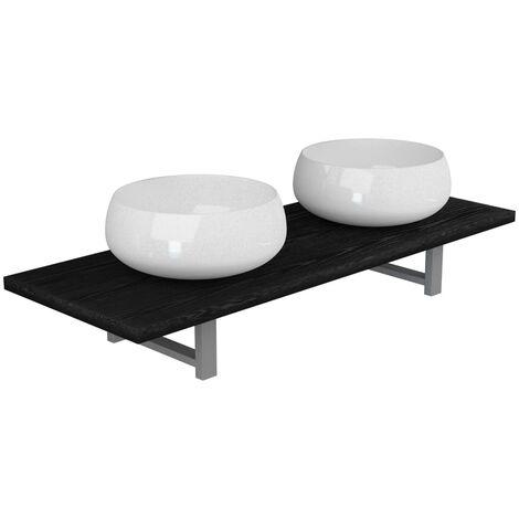 Conjunto de muebles de baño de tres piezas cerámica negro