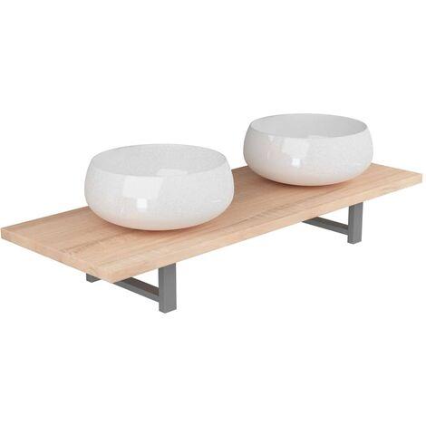 Conjunto de muebles de baño de tres piezas cerámica roble