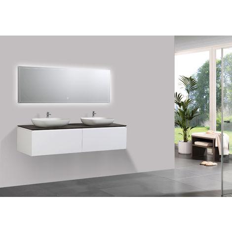Conjunto de muebles de baño Spring 1500 blanco mate - mueble de pared y lavabos montados en la pared opcionales