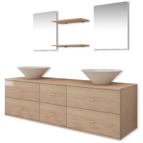 Conjunto de muebles de baño y lavabo 7 piezas beige