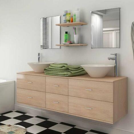 Conjunto de muebles de bano y lavabo 7 piezas beige