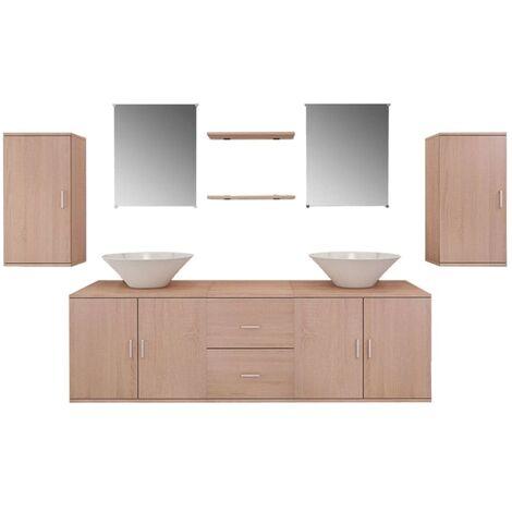 Conjunto de muebles de baño y lavabo 9 piezas beige