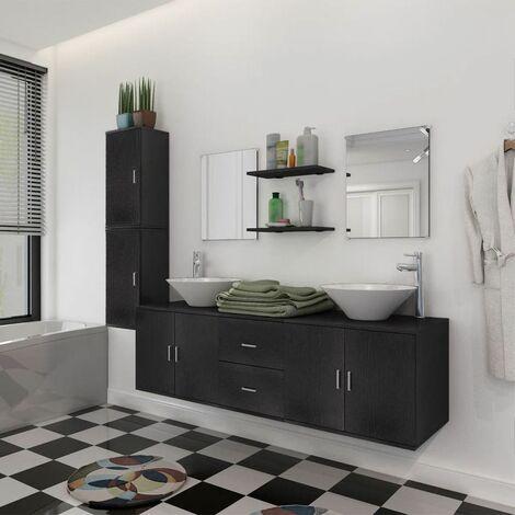 Conjunto de muebles de bano y lavabo 9 piezas negro