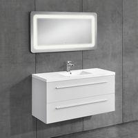 Conjunto de muebles de cuarto de baño --mueble con lavabo incluido + espejo LED - 50x70cm blanco