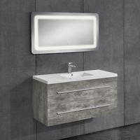 Conjunto de muebles de cuarto de baño - mueble con lavabo incluido + espejo LED 50x70cm - cemento