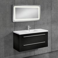 Conjunto de muebles de cuarto de baño - mueble con lavabo incluido + espejo LED - 50x70cm negro