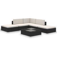 Conjunto de muebles de exterior 15 piezas negro poli ratán