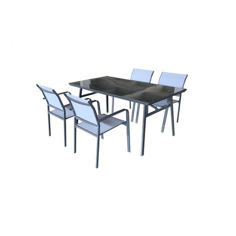 Conjunto De Muebles De Exterior Para Jardin O Teraza Tulum Formado Por 4 Sillas Y 1 Mesa De Comedor De Jardín