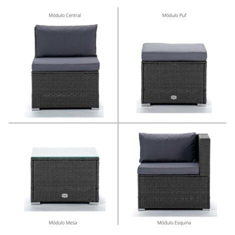 Conjunto de Muebles De Exterior Para Jardín o Terraza Sofa Doble Modular, Mesa y Cubo Otomano Color Gris