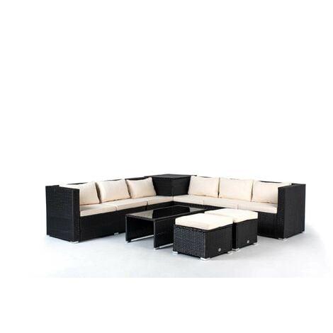 Conjunto de Muebles De Exterior Para Jardín o Terraza Sofa Esquinero 6 plazas + 2 Cubos Otomanos + 1 Baúl + Mesa