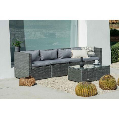 Conjunto de Muebles De Exterior Para Jardín o Terraza Sofa Modular 4 y Dos Mesas Plazas Color Gris