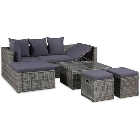 Conjunto de muebles de jard n 14 piezas rat n sint tico gris for Muebles de jardin de ratan