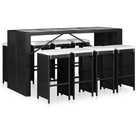 Conjunto de muebles de jardín 9 piezas ratán sintético negro