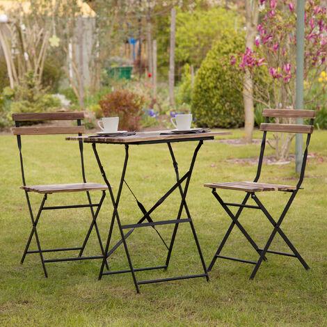 conjunto de mobiliario para balcón de acacia
