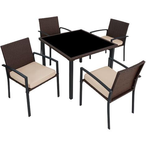 Conjunto de muebles de jardín Meran 4+1 - mueble de exterior de poli ratán, muebles de ratán sintético con cojines y fundas, asientos de jardín con estructura de acero