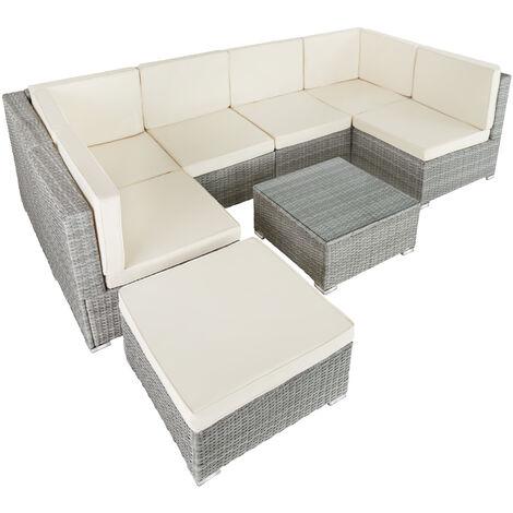 Conjunto de muebles de ratán Venecia - mueble de exterior de poli ratán, muebles de ratán sintético con cojines y fundas, asientos de jardín con estructura de acero