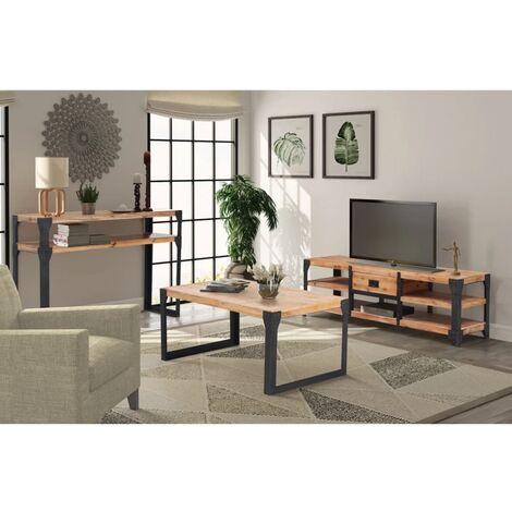 Conjunto de muebles de salón 3 piezas madera maciza de acacia - Marrón