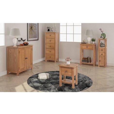 Conjunto de muebles de salón 5 piezas roble macizo - Marrón