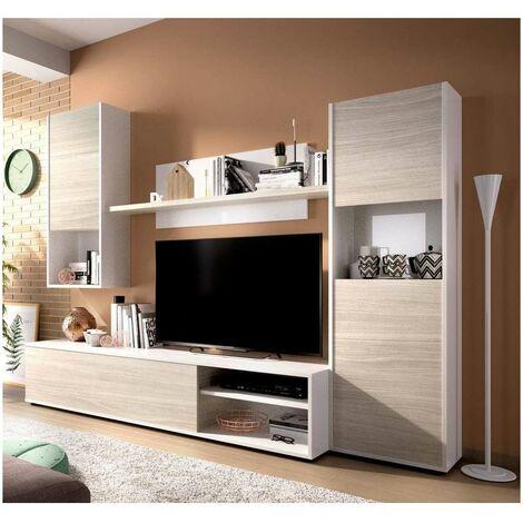 Conjunto de muebles modular de salon Luka en color blanco brillo-gris