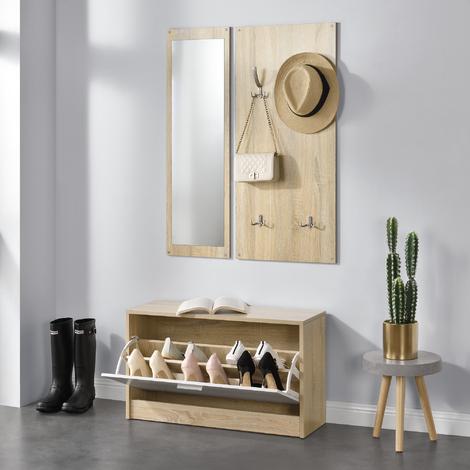Conjunto De Muebles Para Pasillo Vestibulo Zapatero Espejo