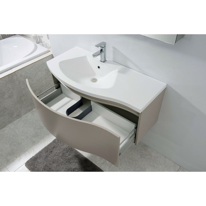Conjunto de muebles y accesorios para el cuarto de baño LENA 1000 marrón  mate - espejo opcional